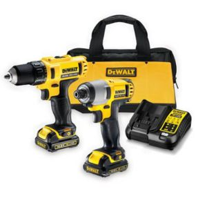 Image of Dewalt 10.8V 1.3Ah Lithium-ion Drill driver & impact driver twin pack 2 batteries DCK211C2-BQGB