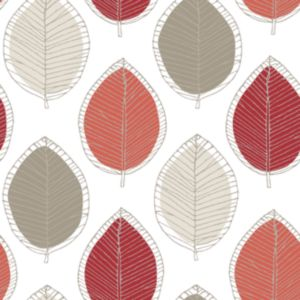 Arthouse opera beige cream red sketched leaf wallpaper