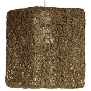 Image of Abaca Brown Twine Square Pendant Light Shade (D)177mm
