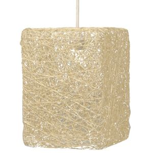 Image of Abaca Beige Twine Square Pendant Light Shade (D)177mm