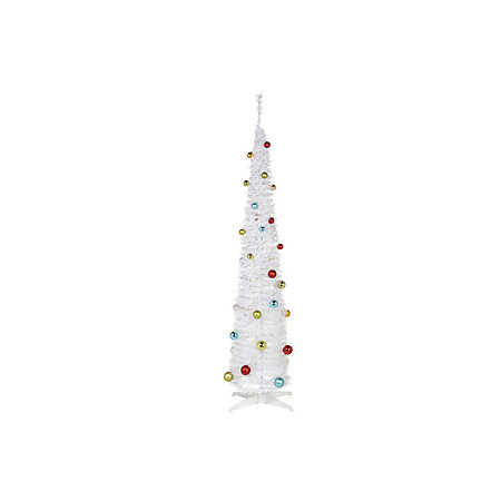 6 Ft White Pop Up White Pre Decorated Christmas Tree Departments