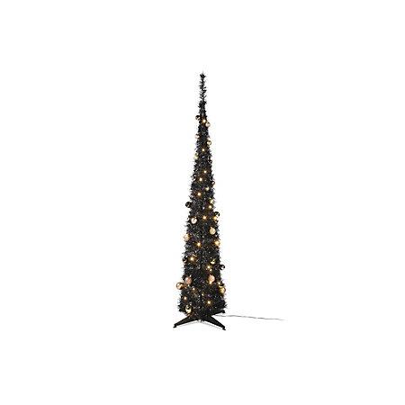 6ft pop up black tinsel pre lit decorated led christmas tree - Pop Up Pre Lit And Decorated Led Christmas Tree