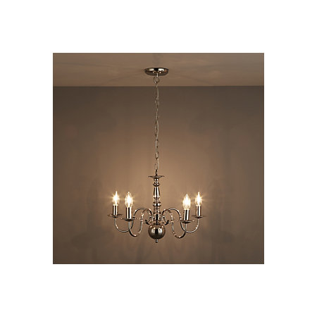 Manning Polished Nickel Effect 5 Lamp Chandelier Ceiling Light Departments Diy At B Q