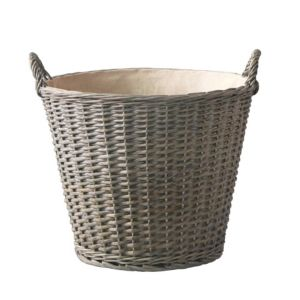 Lined Grey Willow Log Basket