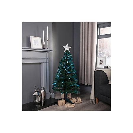 4ft Fibre Optic Rotating Pre-lit Christmas tree ...