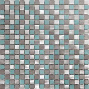 Image of Adrano Grey Aluminium Mosaic tile (L)304mm (W)292mm