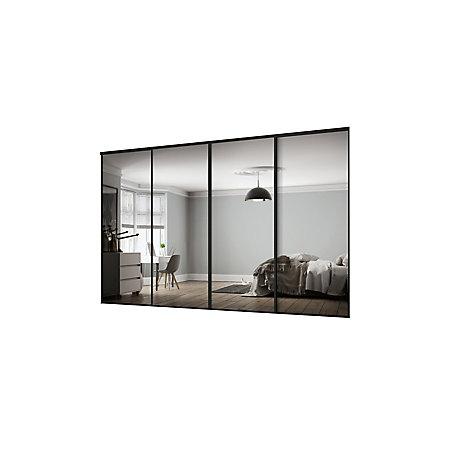 Classic Mirrored Black 4 door Sliding Wardrobe Door kit (H ...