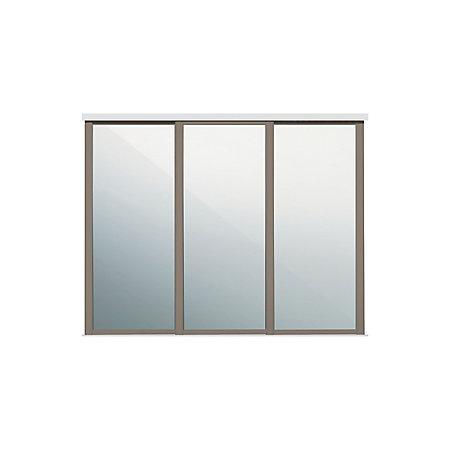 Shaker Mirrored Stone Grey Sliding Wardrobe Door W 610mm