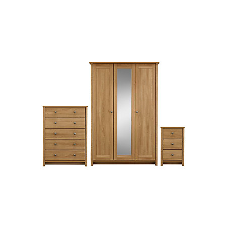 Manor pre assembled oak effect 3 piece bedroom furniture for B q bedroom furniture