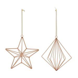 Gloss Copper Metallic Effect Star & Diamond Decoration