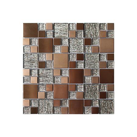 copper luxe copper brushed glass metal mosaic tile l. Black Bedroom Furniture Sets. Home Design Ideas