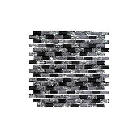 Black White Glass Wall Tile L 304mm W 300mm Departments Diy At B Q