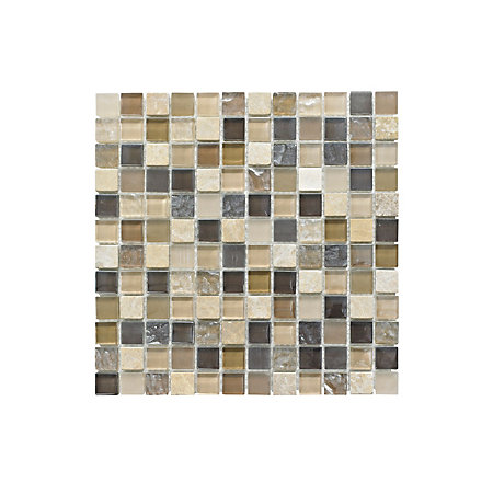 Beige Glass Stone Mosaic Tile L 300mm W 300mm Departments Diy At B Q
