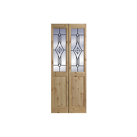 4 Panel Knotty pine Glazed Internal Bi-fold Door, (H)2040mm (W)726mm ...