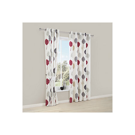 Dario Beige Grey Red White Floral Printed Eyelet Lined Curtains