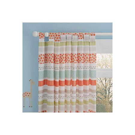 Animal Cream Orange Striped Printed Tab Top Lined Childrens