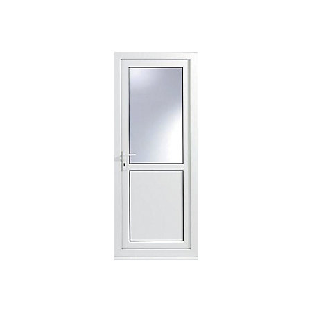 White PVCu Half Glazed Back Door & Frame Rh, (H)2055mm (W)920mm ...