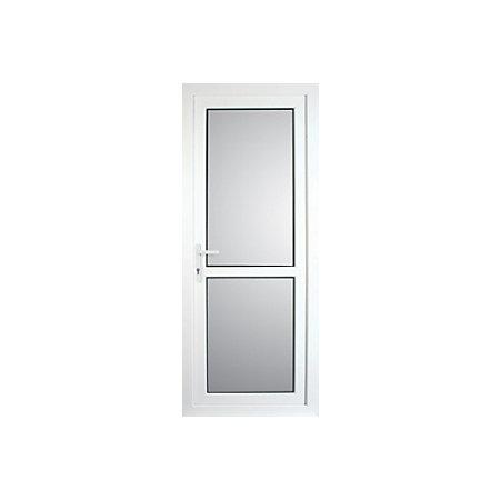 Mid bar White PVCu Fully glazed Back door & frame LH, (H)2055mm (W ...