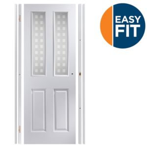 Image of 4 Panel Pre-painted White Glazed Internal Door kit For opening sizes (W)759-771mm (H)1988-1996mm (D)35mm