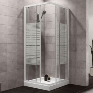 Plumbsure Square Shower Enclosure with White Frame & Double Sliding Doors (W)760mm (D)760mm