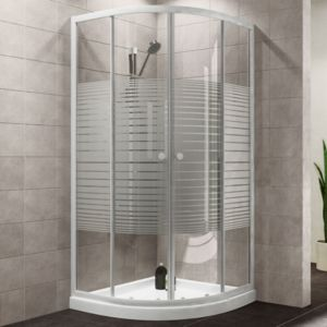 Plumbsure Quadrant Shower Enclosure with White Frame & Double Sliding Doors (W)800mm (D)800mm
