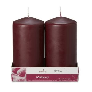Spaas Mulberry Wine Pillar Candle Large Pack of 2