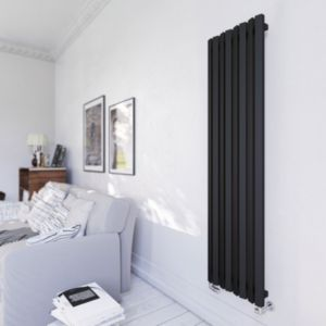 Terma Durham Vertical Radiator Metallic Black Textured  (H)1600 mm (W)425 mm