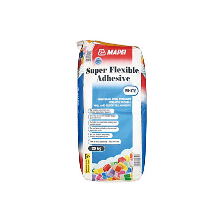 Mapei Super flexible Powder Adhesive, White 20kg | Departments | DIY at B&Q