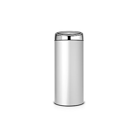 Brabantia Touch Bin 30 L Flat Top.Brabantia Touch Top Grey Metallic Effect Steel Circular Kitchen Bin 30l Departments Diy At B Q