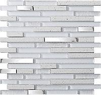 Quartz Quartz Stone effect Glass & metal Mosaic tile, (L)306mm (W)303mm