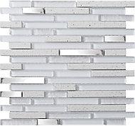 Quartz Stone effect Glass & metal Mosaic tile, (L)306mm (W)303mm