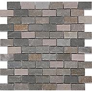 Quartzite Beige Polished Stone effect Mosaic tile sheet, (L)300mm (W)300mm