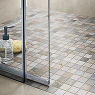 Quartzite Beige Polished Stone effect Natural stone Mosaic tile sheet, (L)300mm (W)303mm