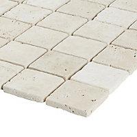 Real tumbled travertine Beige Natural stone 5x5 Mosaic tile sheet, (L)305mm (W)305mm