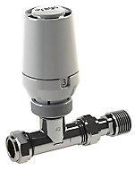 Regis White Chrome-plated Straight Thermostatic Radiator valve & lockshield