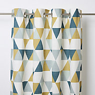 Rima Blue, grey & mustard Triangle Unlined Eyelet Curtain (W)117cm (L)137cm, Single