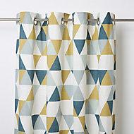 Rima Blue, grey & mustard Triangle Unlined Eyelet Curtain (W)167cm (L)228cm, Single