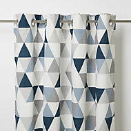 Rima Blue & grey Triangle Unlined Eyelet Curtain (W)117cm (L)137cm, Single