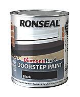 Ronseal Black Satin Doorstep paint, 0.75L