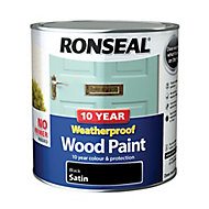 Ronseal Black Satin Wood paint, 2.5L