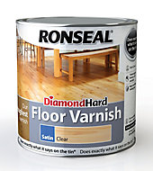 Ronseal Diamond hard Clear Satin Floor Wood varnish, 2.5L