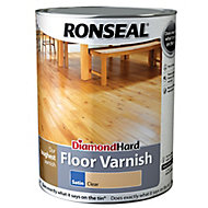 Ronseal Diamond hard Clear Satin Floor Wood varnish, 5L