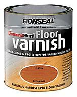 Ronseal Diamond hard Medium oak Satin Floor Wood varnish, 2.5L