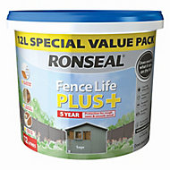 Ronseal Fence life plus Sage Matt Fence & shed Wood treatment 12L