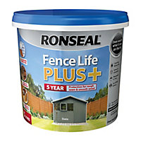 Ronseal Fence life plus Slate Matt Fence & shed Wood treatment 5L