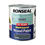 Ronseal Grey Satin Wood paint, 0.75L