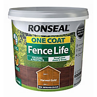 Ronseal One coat fence life Harvest gold Matt Fence & shed Treatment 5L