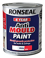 Ronseal Problem wall White Silk Anti-mould paint, 0.75L