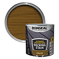 Ronseal Ultimate protection Medium oak Matt Decking Wood stain, 2.5L