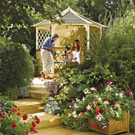 Rowlinson Gainsborough Natural Hexagonal Gazebo, (W)3m (D)2.6m - Assembly service included